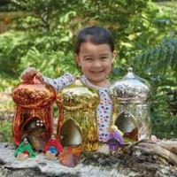 Metallic Sparkle Cottages Set of 3 | Small World Play - Sensory Wise