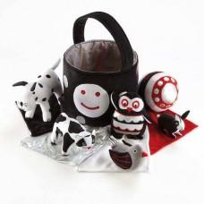 Baby Black and White Soft Toy Basket Set | Baby Sensory - Sensory Wise