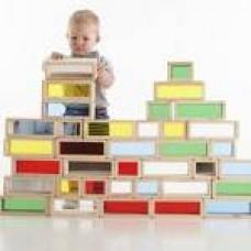 Giant Wooden Rainbow Bricks Set of 36 | Construction Toy – Sensory Wise