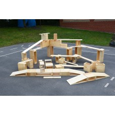 Giant Wooden Hollow Block Set of 52 | Construction Toy – Sensory Wise